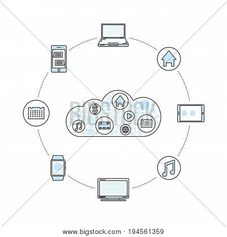 World media database linear style infographics. Network cloud service, global data safety and interactive processing, financial system protection, online data backup conceptual vector illustration