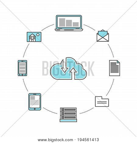 Global data communication linear infographics. Network cloud service, global data safety and interactive processing, financial system protection, online data backup conceptual vector illustration