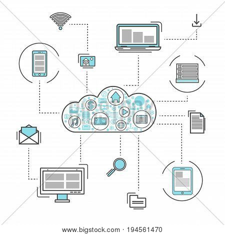 Network cloud service linear style infographics. Cloud computing, global data safety and interactive processing, financial system protection, online data backup conceptual vector illustration
