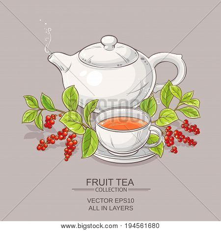 cup of schisandra tea and teapot on color background
