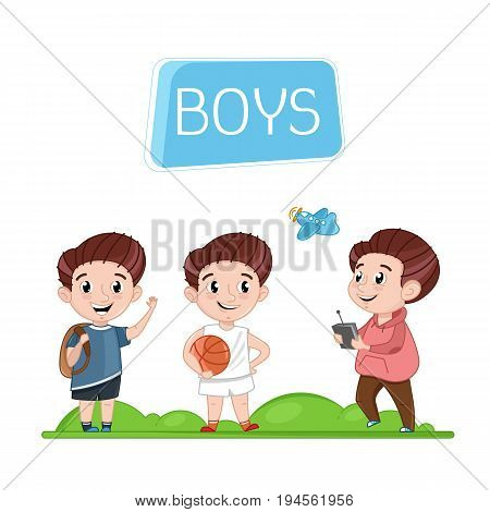 Happy boys characters outdoor activity. Basketball game, hiking with backpack, playing with radio control plane. Interesting children life poster, happy childhood vector illustration