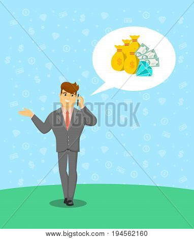 Smiling successful businessman speaking on phone. Standing young man in business suit and tie talking about money vector illustration. Business people banner, finance savings and investment concept.