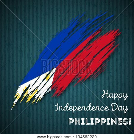 Philippines Independence Day Patriotic Design. Expressive Brush Stroke In National Flag Colors On Da