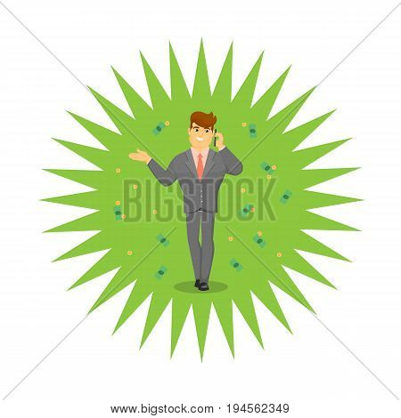 Successful businessman speaking on phone. Standing young man in business suit and tie talking about money vector illustration. Business negotiations banner, finance investment concept.
