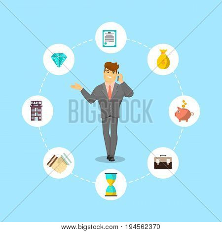 Successful businessman speaking on phone. Standing young man in business suit and tie talking about money vector illustration. Smart investment opportunity in securities, real estate or bank deposit.