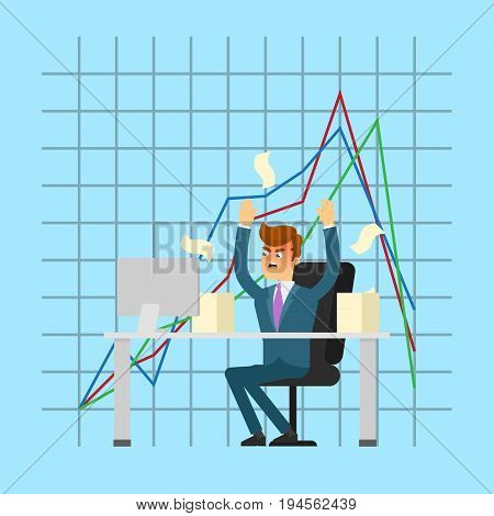 Angry businessman working on computer. Young man in business suit and tie on background of collapse graph. Business crisis concept, negative financial chart, information analysis vector illustration
