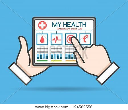 Tablet telehealth concept, remote medical doctor monitoring, health or mobile medic help vector illustration
