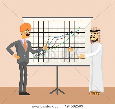 Arabian and indian businessman near whiteboard with financial diagram. Business meeting, teamwork and collaboration. Business people banner, finance statistics and analytics vector illustration