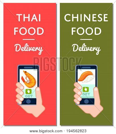 Thai and chinese fast food delivery flyers. Smartphone screen with restaurant menu, online order food on mobile app vector illustration. Express delivery service poster with phone in human hand.