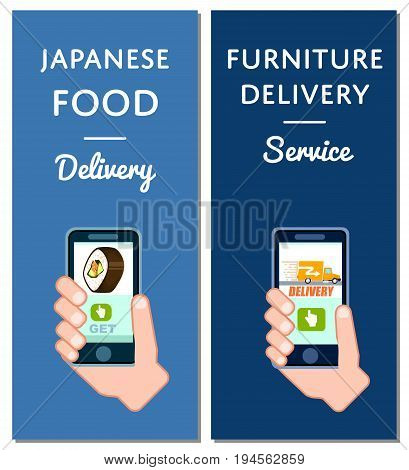 Japanese food and furniture delivery flyers. Smartphone screen with cafe menu, online order transportation on mobile app vector illustration. Express delivery service poster with phone in human hand.