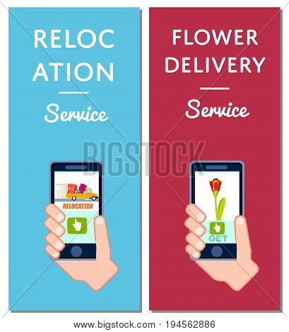 Flower delivery and relocation service flyers. Express delivery poster with phone in human hand, transportation company, comercial moving service. Online order on mobile app vector illustration.