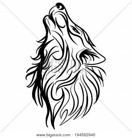 Wolf head howl design tribal tattoo vector Sketch tattoo howling wolf black and white