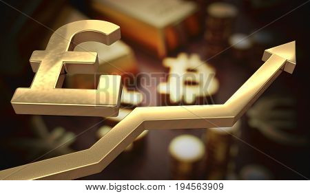 Golden Pounds Symbol And Arrow Up. 3D Rendered Illustration.