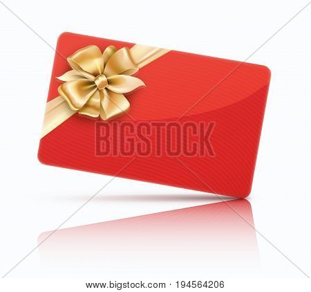 Vector illustration of red decorated gift card with golden ribbons and bow