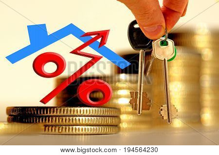 The character of the property and the keys on the background of bars coins . The concept of financial instability on the real estate market .