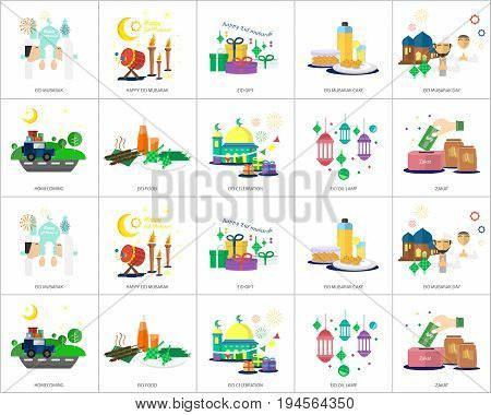 Ramadan and Eid Mubarak Conceptual Design | Set of great flat design illustration concepts for religion, ramadan, islamic and much more.