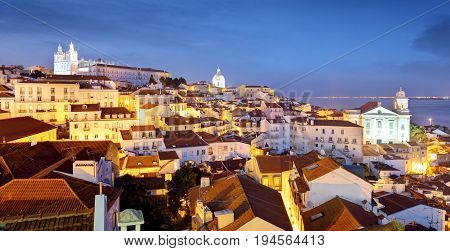 Portugal Lisbon - Old city Alfama at night