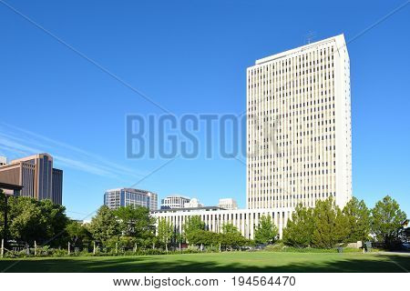 SALT LAKE CITY, UTAH - JUNE 29, 2017: LDS Office Building. Headquarters for the Church of Latter-day Saints, seen from the Brigham Young Historic Park.