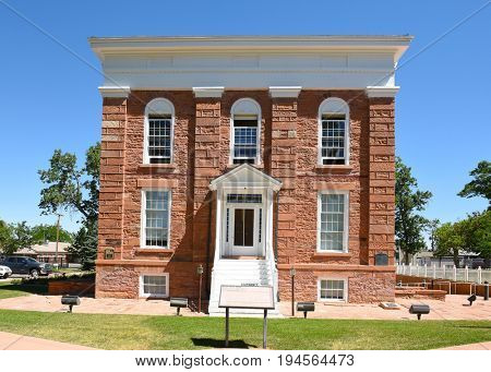 FILLMORE, UTAH - JUNE 29, 2017: Territorial Statehouse State Park Museum. Utahs first capital has served as legislative hall, jail, theater, school and hiding place for the Deseret News Press.