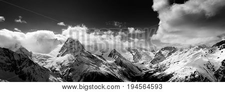 Black And White Panorama Of Snow Mountain At Winter Day