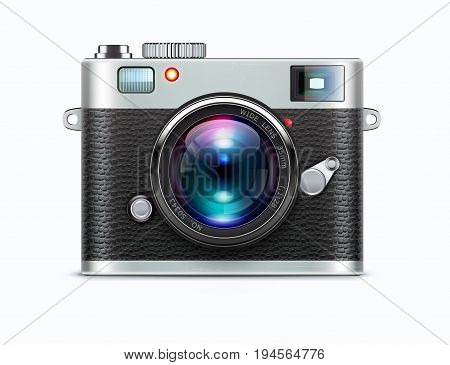 Vector illustration of detailed icon representing retro style camera