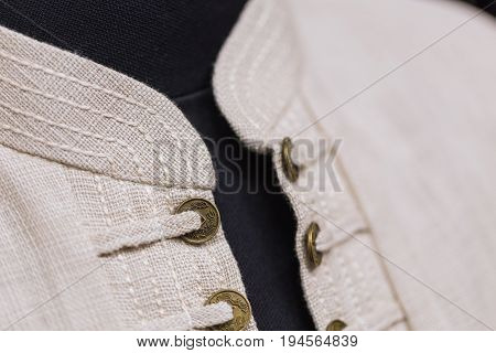 Chinese Man Modern Clothes Dress Style Closeup Button And Collar.
