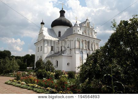 St. Nicholas Monastery Complex, Mogilev, Belarus - August 9, 2014 - Cathedral and the monastery garden in August 9, 2014 in Mogilev, Belarus.