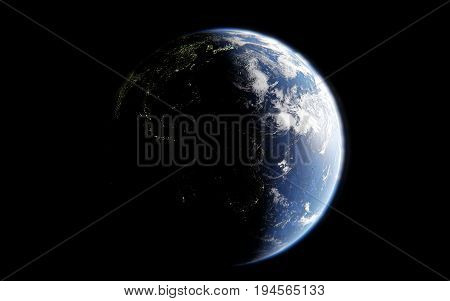 3d rendering of the image of the planet earth from space details of the planet earth view of America with luminous cities the elements of the image are furnished by NASA