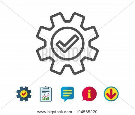 Cogwheel line icon. Approved Service sign. Transmission Rotation Mechanism symbol. Report, Service and Information line signs. Download, Speech bubble icons. Editable stroke. Vector
