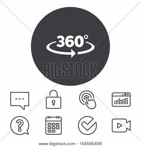 Angle 360 degrees sign icon. Geometry math symbol. Full rotation. Calendar, Locker and Speech bubble line signs. Video camera, Statistics and Question icons. Vector