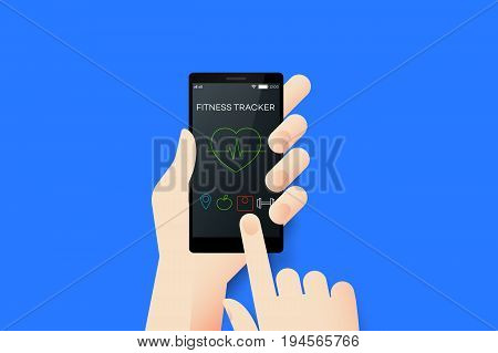 Hand Holding Smartphone With Conceptual Fitness Tracker Mobile Application Interface. Material Design Vector Illustration.