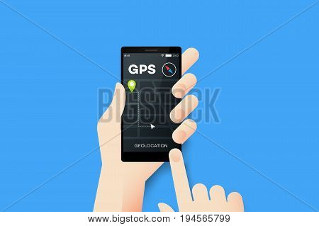 Hand Holding Smartphone With Conceptual GPS Geolocation Mobile Application Interface. Material Design Vector Illustration.