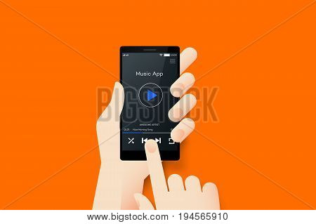 Hand Holding Smartphone With Conceptual Media Player Mobile Application Interface. Material Design Vector Illustration.