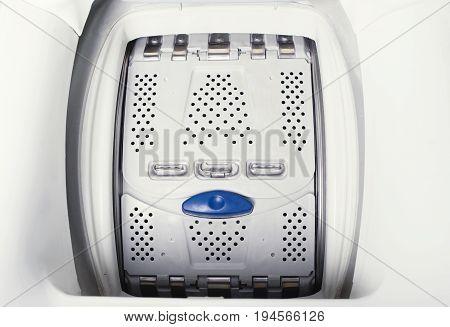 Washing machine automatic. Steel drum closed. Closeup