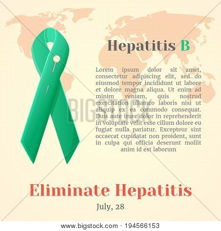 World Hepatitis Day. Colorful awareness ribbons isolated over world map in simple cartoon style. Vector illustration. Holiday Collection.