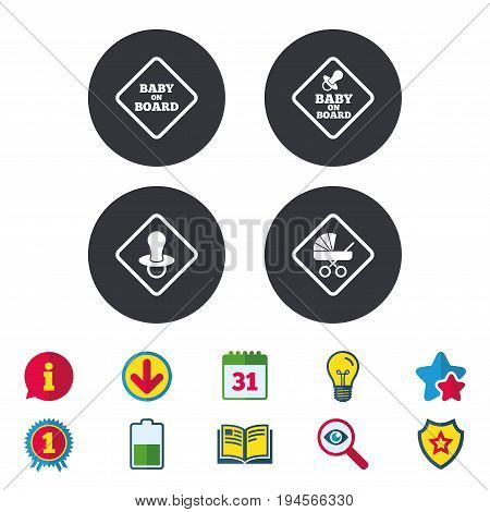 Baby on board icons. Infant caution signs. Child buggy carriage symbol. Calendar, Information and Download signs. Stars, Award and Book icons. Light bulb, Shield and Search. Vector