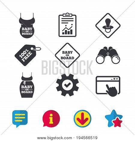 Baby on board icons. Infant caution signs. Child pacifier nipple. Pregnant woman dress with big belly. Browser window, Report and Service signs. Binoculars, Information and Download icons. Vector
