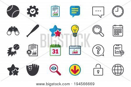 Baseball sport icons. Ball with glove and bat signs. Fireball symbol. Chat, Report and Calendar signs. Stars, Statistics and Download icons. Question, Clock and Globe. Vector