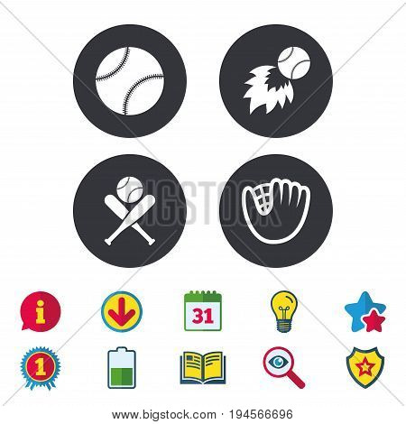 Baseball sport icons. Ball with glove and two crosswise bats signs. Fireball symbol. Calendar, Information and Download signs. Stars, Award and Book icons. Light bulb, Shield and Search. Vector