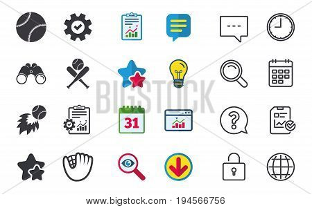 Baseball sport icons. Ball with glove and two crosswise bats signs. Fireball symbol. Chat, Report and Calendar signs. Stars, Statistics and Download icons. Question, Clock and Globe. Vector