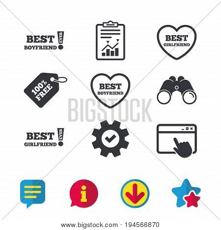 Best boyfriend and girlfriend icons. Heart love signs. Awards with exclamation symbol. Browser window, Report and Service signs. Binoculars, Information and Download icons. Stars and Chat. Vector