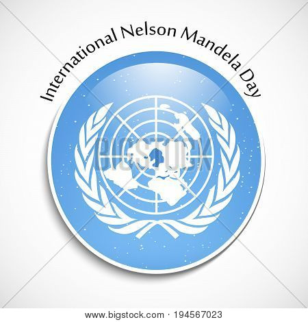 illustration of button in flag background with International Nelson Mandela Day text