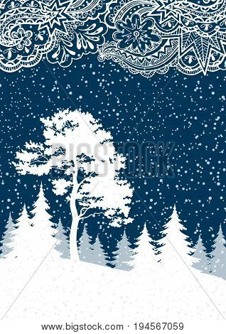 Christmas Winter Forest Landscape with Pine and Firs Trees White Silhouettes, Snow and Abstract Pattern. Vector