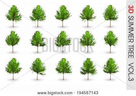 3D Summer Set Tree Collection Object Isolated On White Volume 3