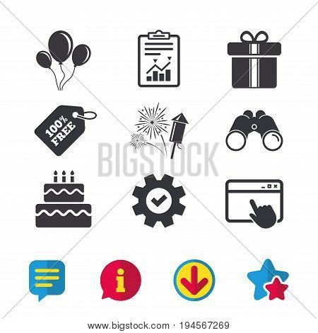 Birthday party icons. Cake and gift box signs. Air balloons and fireworks symbol. Browser window, Report and Service signs. Binoculars, Information and Download icons. Stars and Chat. Vector