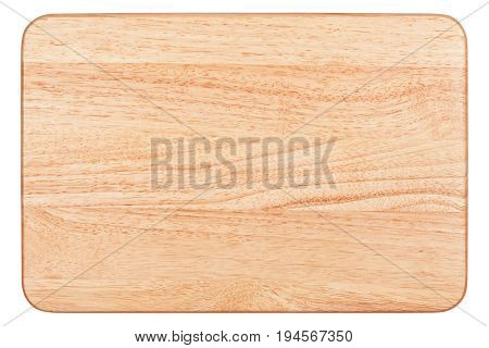 Rectangular cutting board isolated on white background, top view