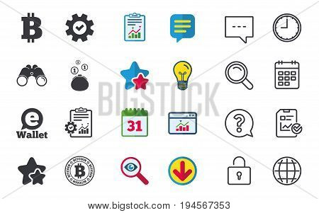 Bitcoin icons. Electronic wallet sign. Cash money symbol. Chat, Report and Calendar signs. Stars, Statistics and Download icons. Question, Clock and Globe. Vector