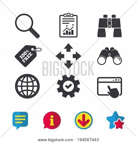 Magnifier glass and globe search icons. Fullscreen arrows and binocular search sign symbols. Browser window, Report and Service signs. Binoculars, Information and Download icons. Stars and Chat