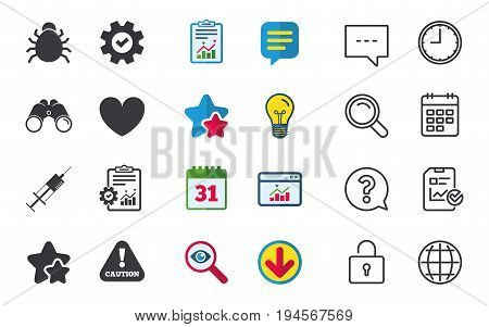 Bug and vaccine syringe injection icons. Heart and caution with exclamation sign symbols. Chat, Report and Calendar signs. Stars, Statistics and Download icons. Question, Clock and Globe. Vector