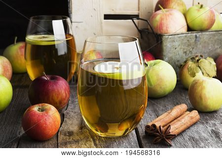 Apple Juice In Glass With Cinnamon And Anisetree On A Dark Wooden Background